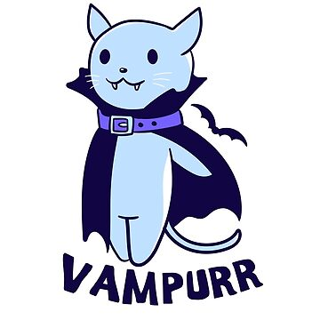 Vampire Vampurr Funny Graphic Halloween Cat Shirt by CoolCatDesigns