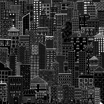 City Doodle Night by beththompsonart