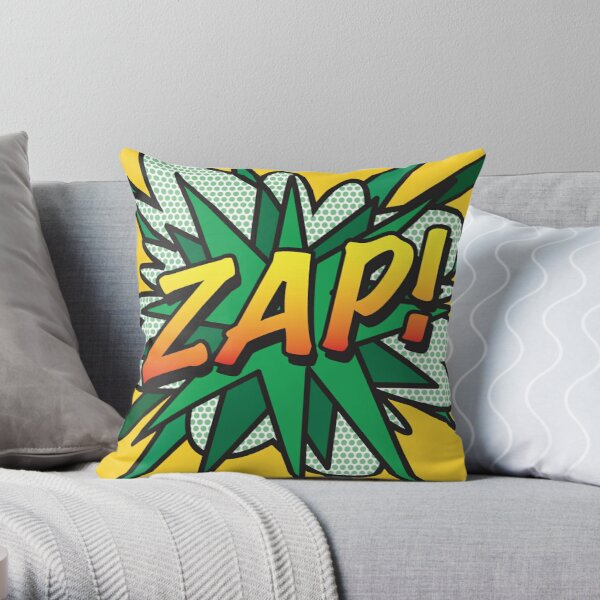 Comic Book Pop Art ZAP! Throw Pillow