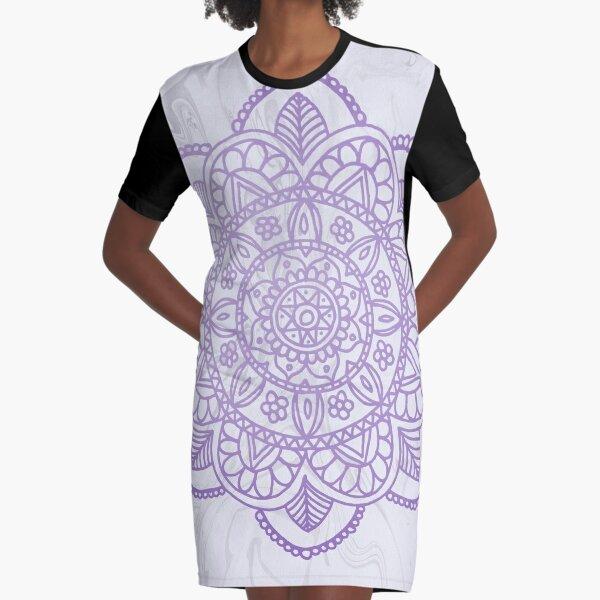 Lavender Mandala on White Marble Graphic T-Shirt Dress