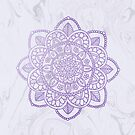 Lavender Mandala on White Marble by julieerindesign