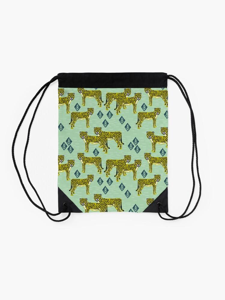 Alternate view of Cheetah safari nursery kids animal nature pattern print gifts  Drawstring Bag