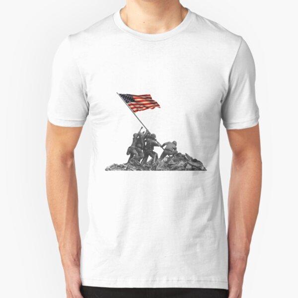 Soldiers Raising US Flag at Iwo Jima Slim Fit T-Shirt