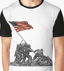 Soldiers Raising US Flag at Iwo Jima Graphic T-Shirt