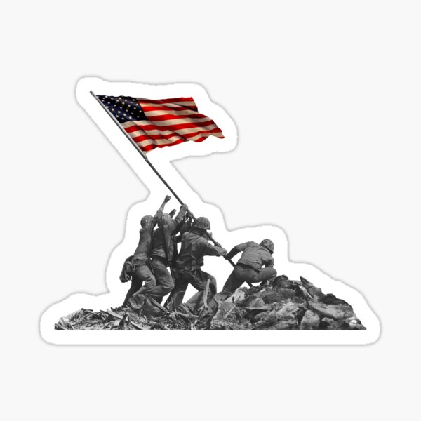 Soldiers Raising US Flag at Iwo Jima Sticker