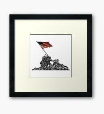 Soldiers Raising US Flag at Iwo Jima Framed Print