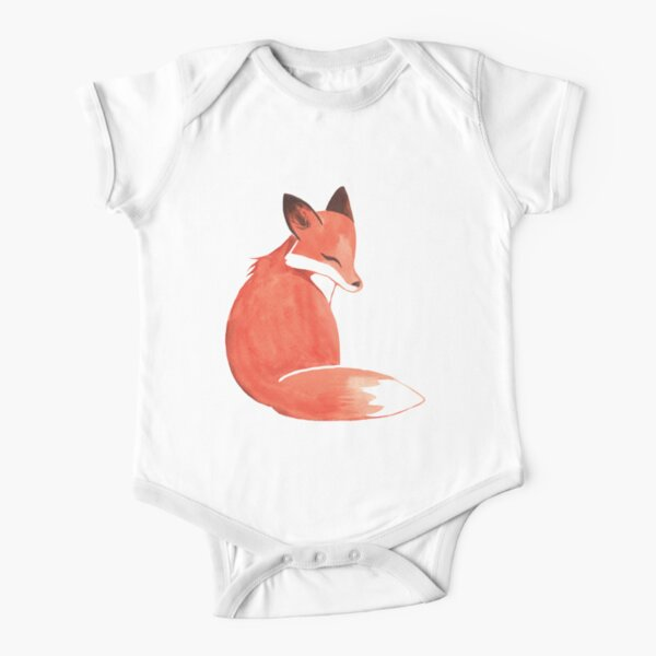 Watercolor Fox Short Sleeve Baby One-Piece