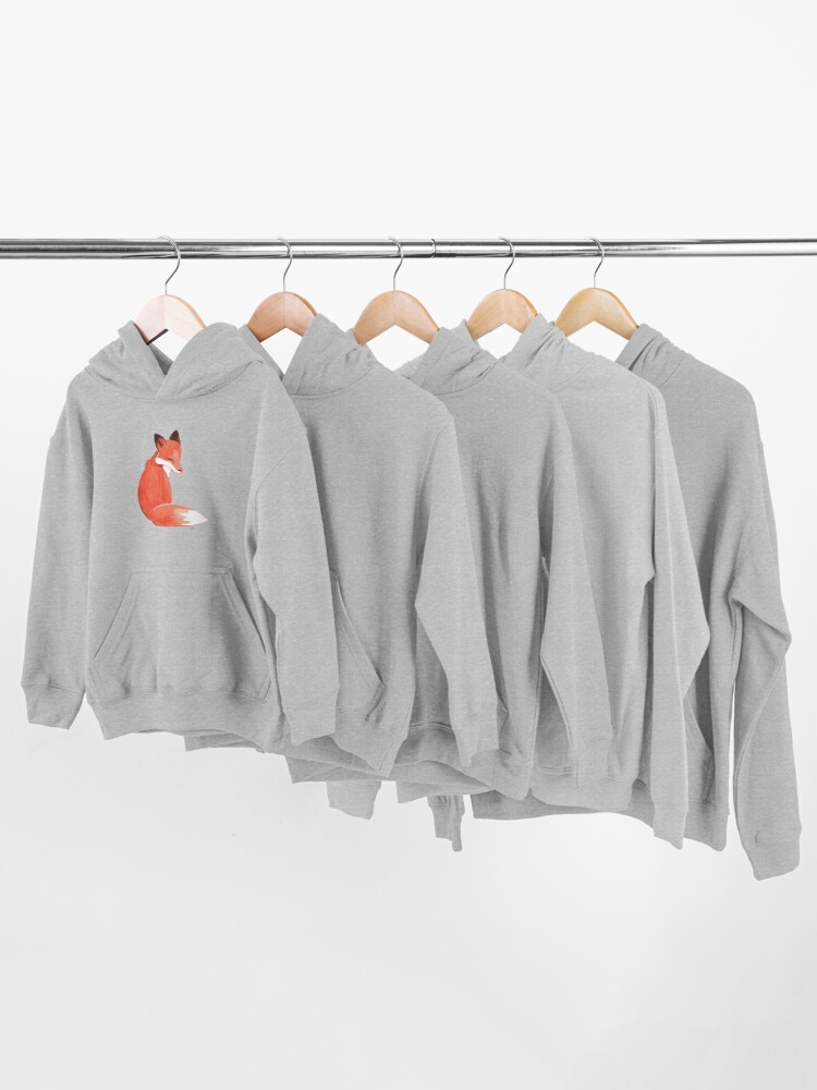 Alternate view of Watercolor Fox Kids Pullover Hoodie