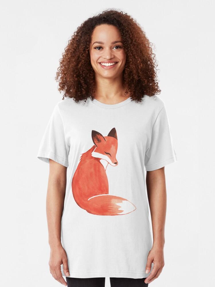 Alternate view of Watercolor Fox Slim Fit T-Shirt