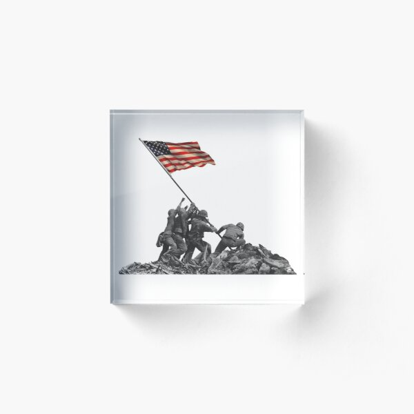 Soldiers Raising US Flag at Iwo Jima Acrylic Block