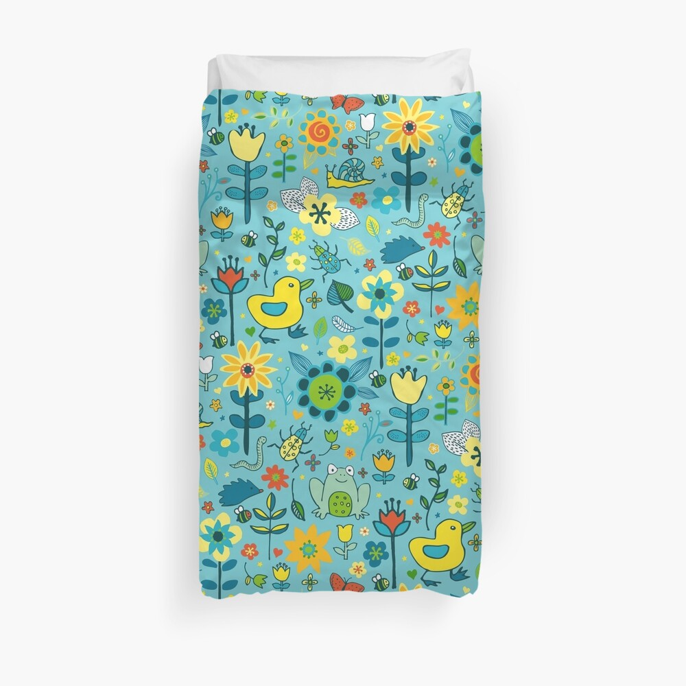 Ducks and Frogs in the Garden - Aqua and Lemon - floral pattern by Cecca Designs Duvet Cover