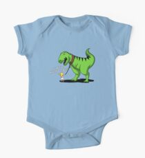 T-Rex Dinosaur On A Lead Funny Girl's Pet Kids Clothes
