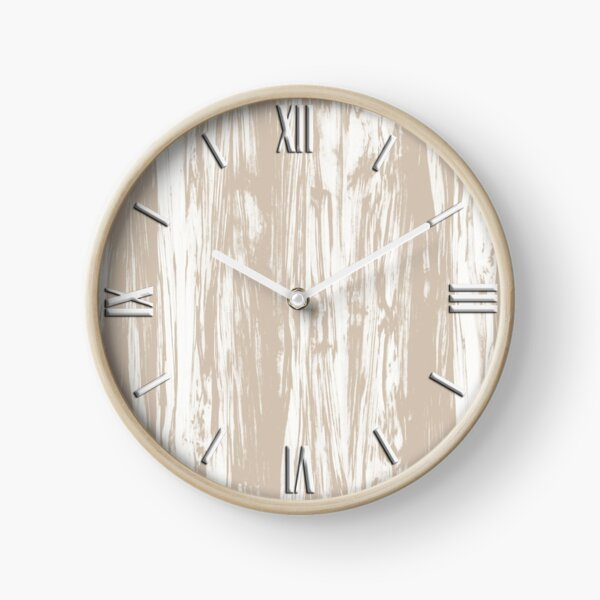 Driftwood Faux Bois, Taupe Beige and White Clock