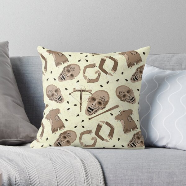 Zombies In Sepia Funny Horror Pattern Throw Pillow