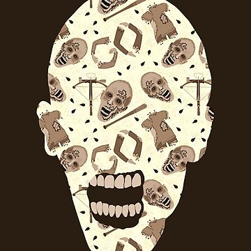 Zombies In Sepia Funny Horror Pattern by theartofvikki