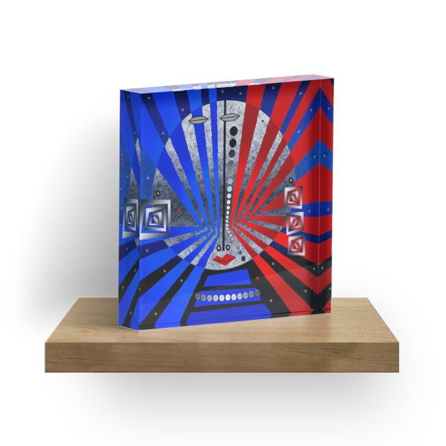 Tribal Whimsy 16 - Acrylic Block by Glen Allison