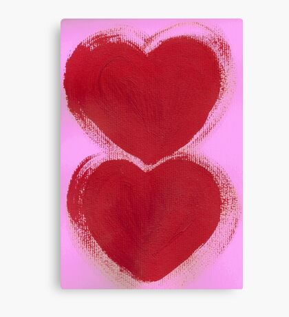 Double Hearts in Rouge Red on Pretty Pink Canvas Print