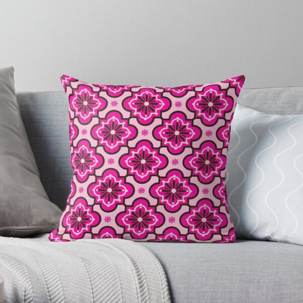 Modern Funky Character Collage FILLED CUSHION Zip Designer Pink