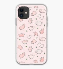 Pink Pigs with Green Acorns  iPhone Case