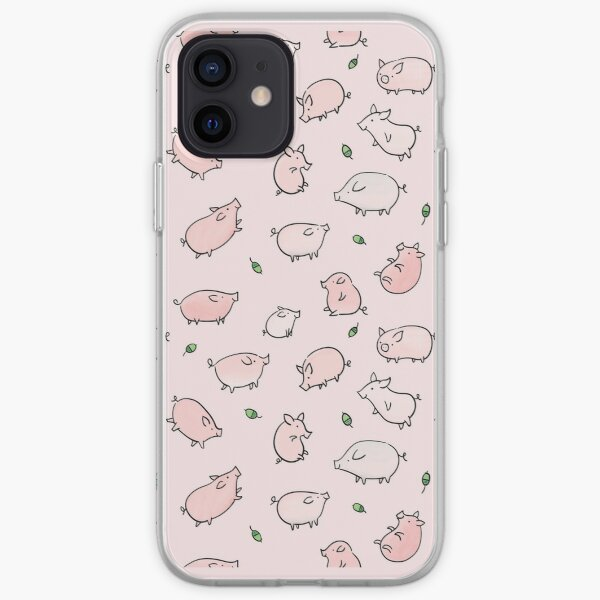 Pink Pigs with Green Acorns  iPhone Soft Case