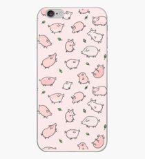 Vinilo o funda para iPhone Cerdos Rosados Con Bellotas Verdes
