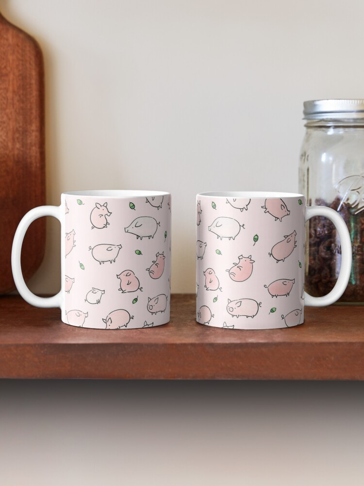 Alternate view of Pink Pigs with Green Acorns  Mug