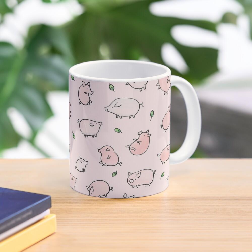 Pink Pigs with Green Acorns  Mug