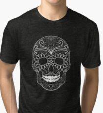 Day Of The Dead Skull White Outline Tri-blend T-Shirt