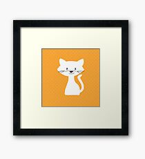 Yellow white cat Framed Print