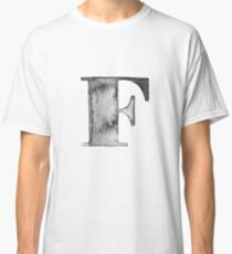 F Letter Monogram Monochrome Alphabet  Word Watercolor Black And White Grey Classic T-Shirt