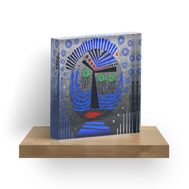 Tribal Whimsy 11 - Acrylic Block by Glen Allison