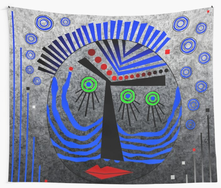 Tribal Whimsy 11 - Wall Tapestry by Glen Allison