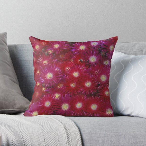 Ruby Flowers Throw Pillow