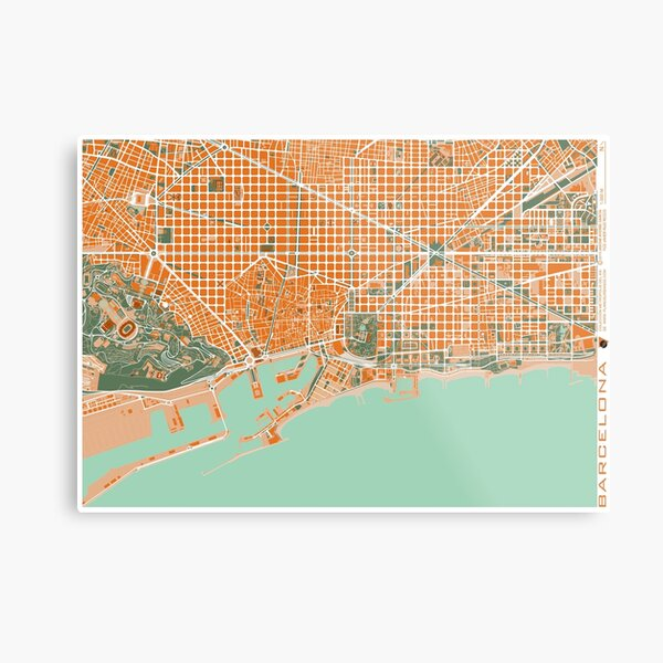 Barcelona Stadtplan mediterránea Metallbild
