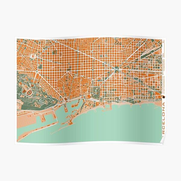 Barcelona city map mediterránea Poster