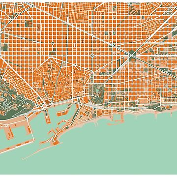 Barcelona city map mediterránea by PlanosUrbanos