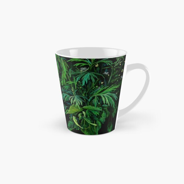 Green and Black, Summer Greenery, Colorful Floral  Tall Mug
