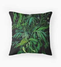 Green and Black, summer greenery, floral art, pastel drawing Floor Pillow