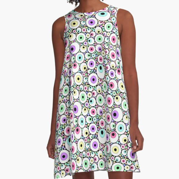 Candy Pastel Eyeball Pattern A-Line Dress