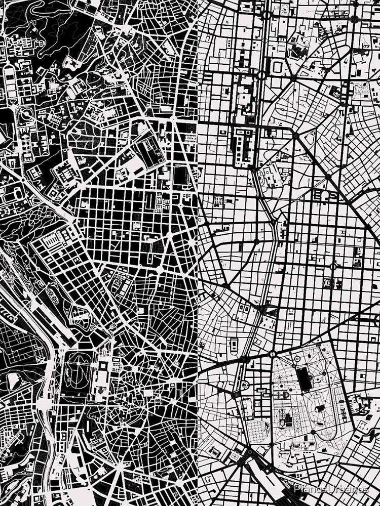 Madrid Stadtplan schwarz & weiß von PlanosUrbanos