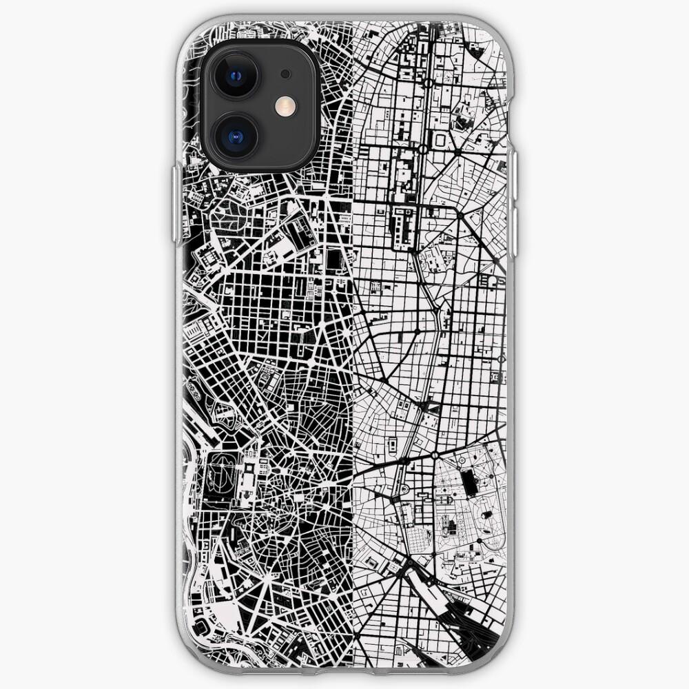 Madrid Stadtplan schwarz & weiß iPhone-Hülle & Cover