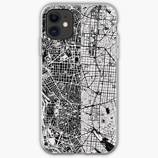 Madrid Stadtplan schwarz & weiß iPhone Flexible Hülle