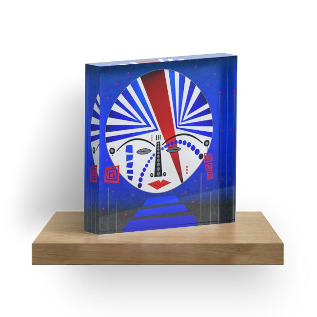Tribal Whimsy 14 - Acrylic Block by Glen Allison