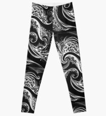 ilona ciunaite,black and white,linework, flow, floral, patterns,  Leggings