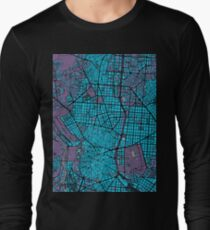Madrid city map twilight Long Sleeve T-Shirt