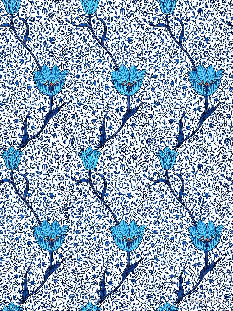 Art Nouveau Tulip Damask, Cobalt Blue by Marymarice