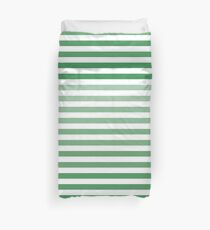 Ombre green and white stripes | pattern #home #lifestyle Duvet Cover