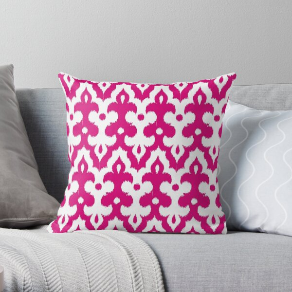 Moroccan Ikat Damask, Fuchsia Pink and White Throw Pillow
