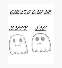 Kawaii Happy and sad ghosts  Photographic Print
