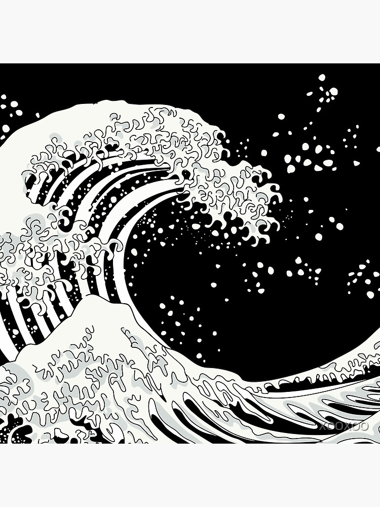 Black and White Great Wave by XOOXOO